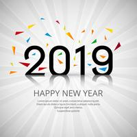 Beautiful Happy New Year 2019 text with confetti background vector