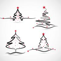 Elegant Merry christmas tree set design vector