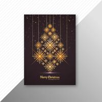 Marry christmas tree brochure template design vector