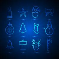 Beautiful christmas icons set elements blue background