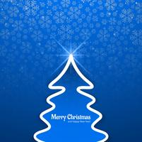 Beautiful festival merry christmas tree card background vector