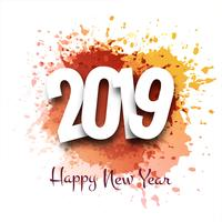 Happy New Year 2019 card celebration colorful background vector