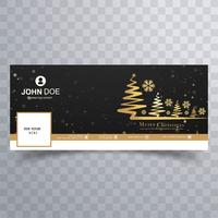 Merry christmas tree with facebook banner colorful template desi
