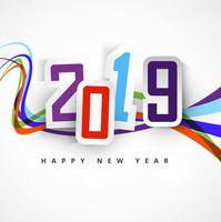 Beautiful Happy New Year 2019 text background vector