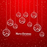 Elegant colorful merry christmas ball greeting card background v