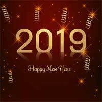 Beautiful Happy New Year 2019 with celebration colorful backgrou vector