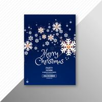 Hermosa plantilla de folleto de tarjeta de feliz Navidad copo de nieve