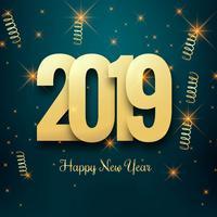 Feliz año nuevo 2019 con fondo colorido confeti
