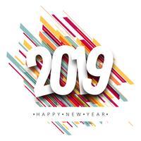 2019 feliz año nuevo texto vector de fondo