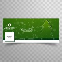 Merry christmas tree with facebook banner template background