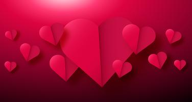 Valentines day background with paper origami hearts divided into half.