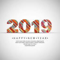 2019 Happy New Year text background vector
