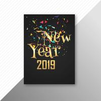 Happy New Year 2019 brochure template design