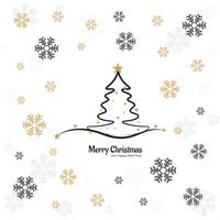 Elegant Merry christmas tree card with snowflake design