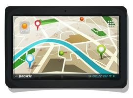 Mapa de ruas com pinos de GPS na tela do Tablet PC