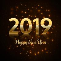 2019 Happy New Year text colorful shiny background