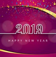 2019 feliz año nuevo texto colorido fondo brillante