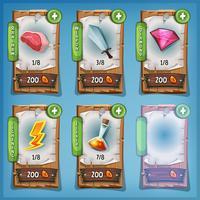 Booster och resurser träpaneler för Ui Game
