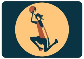 Female Basket Player Shooting Vector