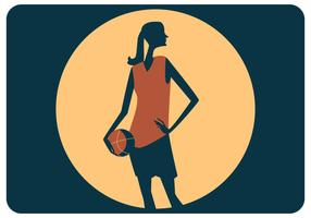 Female Basket Player Standing Vector