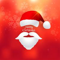 Beautiful merry christmas card with santa hat background