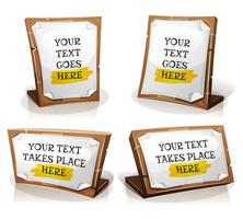 White Paper Signs On Wood Tablet