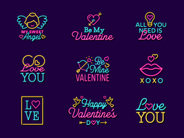 Neon Valentine Vector Label Signs