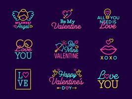 Segni di etichetta di vettore di San Valentino al neon