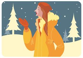 Winter Model Girl Vector