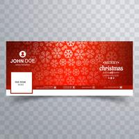 Merry christmas snowflake with facebook banner template vector