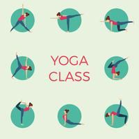 Flat Minimalist Yoga Class Pose Vector Illustration