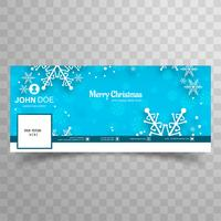 Merry christmas snowflake with facebook banner template backgrou