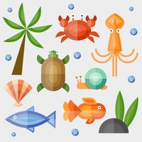 Geometriska djur Hav Teman Vector