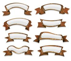 Wood Banners And Ribbons For Game Ui vector