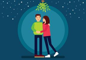 Couple  Standing Under Mistletoe Vector Illustration