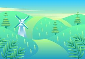 Windmill In Spring Landscape Vector