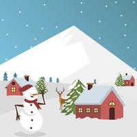 Flat Winter Village Vector Illustration