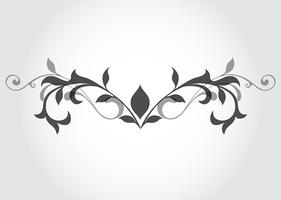 Black and white floral design element vector