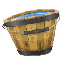 Wood Bucket With Water