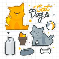 Cat And Dog Sticker Set Funny vector