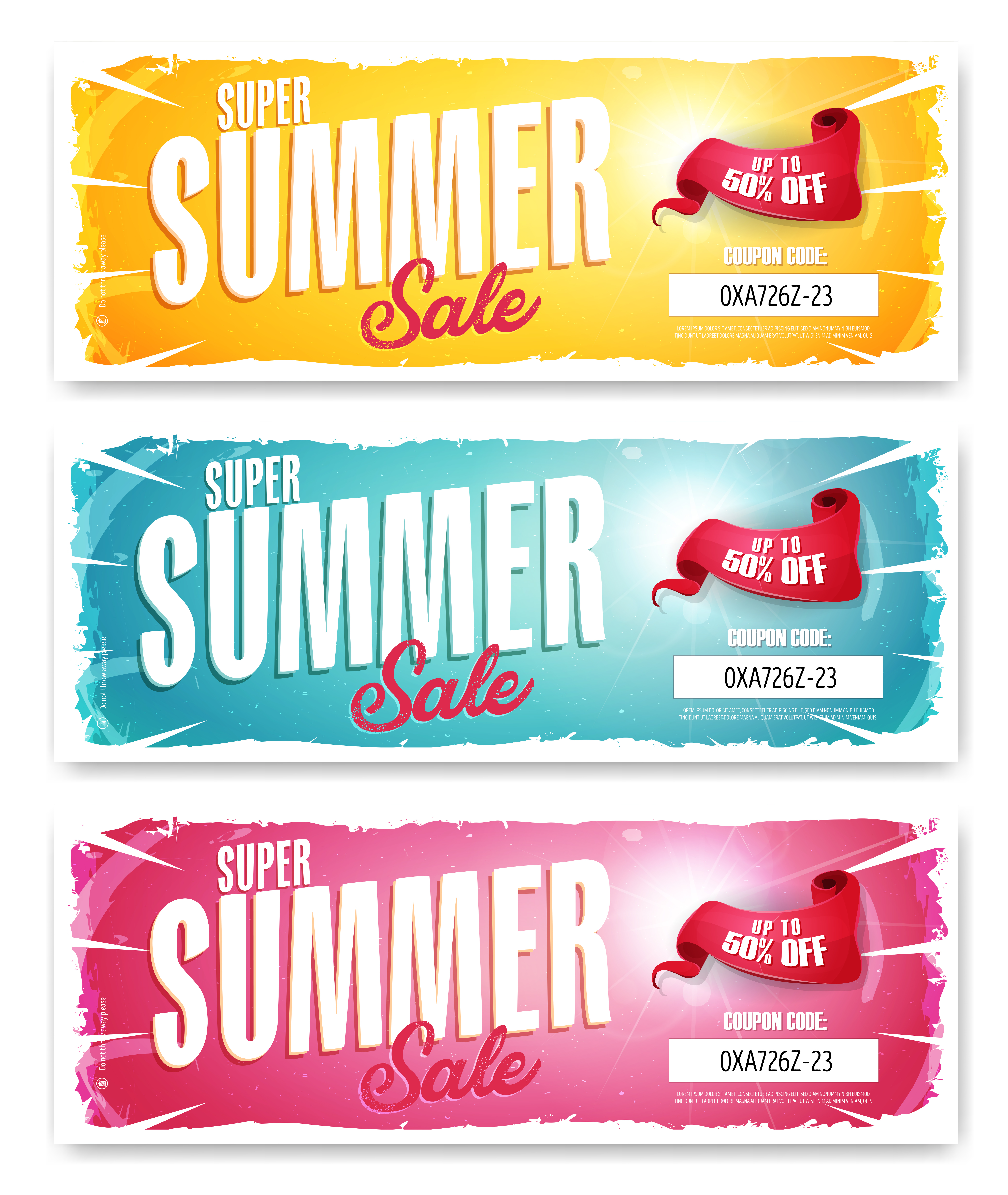 Hot Summer Sale Banner With Coupon Code Download Free Vectors Clipart Graphics Vector Art