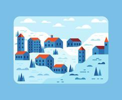 Winter Village Illustration