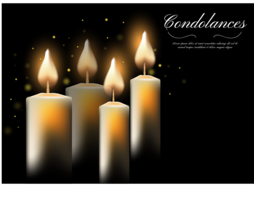 Light Condolances With Candle In Dark