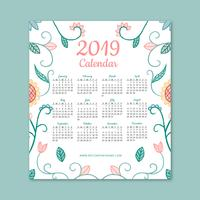 Cute 2019 Calendar With Flowers And Leaves vector