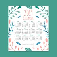 Cute 2019 Calendar With Coloful Leaves