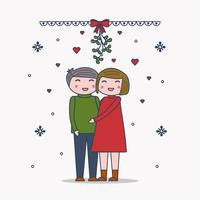 Couple Under Mistletoe Vector