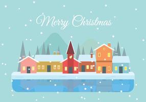 Fondo de la ciudad de Navidad en diseño plano