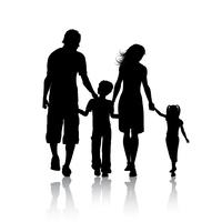 Silhouet van een familie