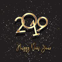 Happy New background with gold lettering and stars
