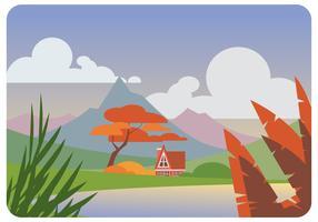 vettore di paesaggio sring